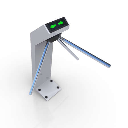 turnstile: Turnstile white forbidding passage  3D rendering