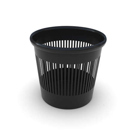 Black office garbage can  3D rendering photo