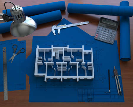 3D model on the floor of the house blueprint  3D rendering photo