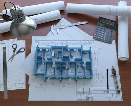 3D model floor of the house on the desktop architect  3D rendering photo
