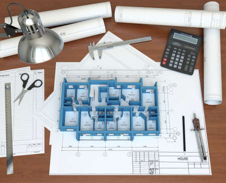 3D model floor of the house on the desktop architect  3D rendering Stock Photo - 12926069