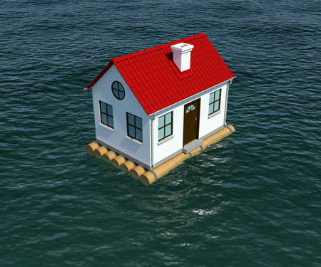 insurance protection: House on wooden raft floats on water. 3d rendering