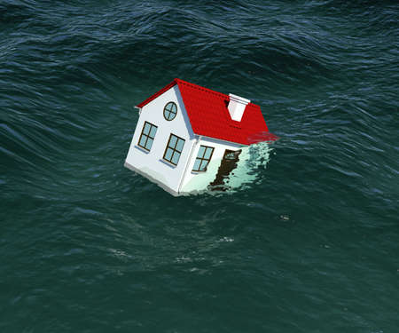 tilted: House with red roof sinks in water. 3d rendering Stock Photo