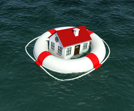 Home and lifebuoy in water. 3d rendering photo