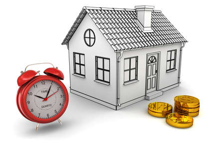 Model home, red alarm clock, stack of gold dollar coins. 3d rendering photo