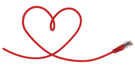 conectores: El cable de red torcido en la forma del coraz�n. Representaci�n 3D Foto de archivo