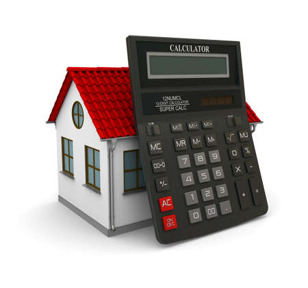 leaned: Calculator leaned on a little house with red roof. 3d rendering Stock Photo