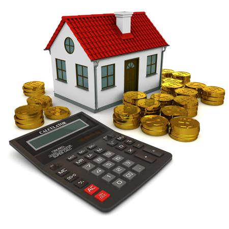 電卓: 赤い屋根、電卓、ゴールド コイン ドルのスタックの家。3 d レンダリング