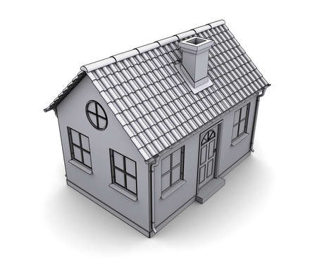 Frame house 3d model of a white Stock Photo