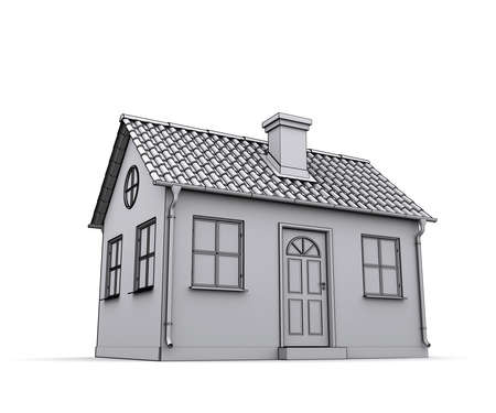 Frame house 3d model of a white photo