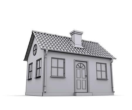 house outline: Frame house 3d model of a white Stock Photo