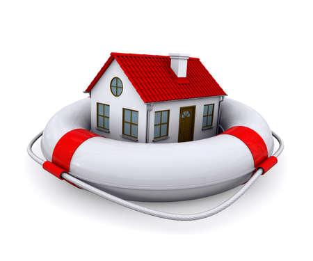 aide a domicile: Maison de bou�e de sauvetage isol� sur fond blanc