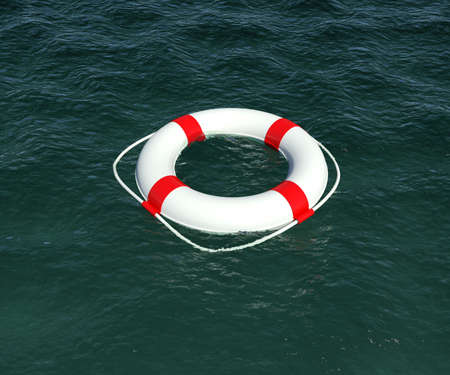 Lifebuoy floating in the water  3d rendering photo