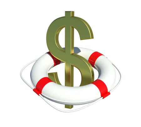Dollar sign in lifebuoy  Isolated on white background Stock Photo - 13010639