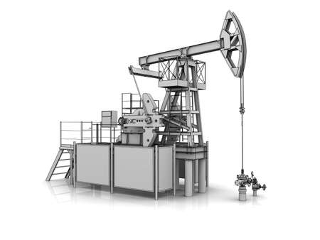 jack pump: 3D model of the oil pump jack Stock Photo