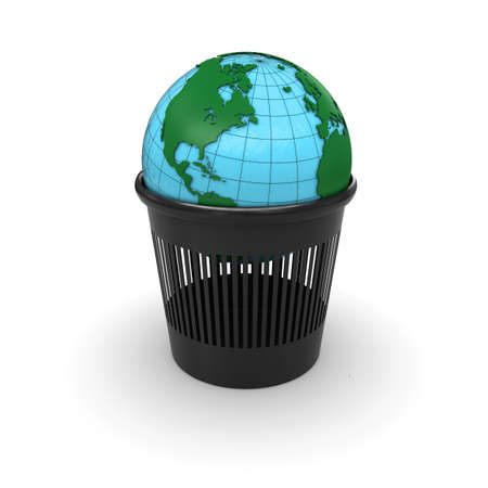 Green Earth in the trash  3d rendering photo