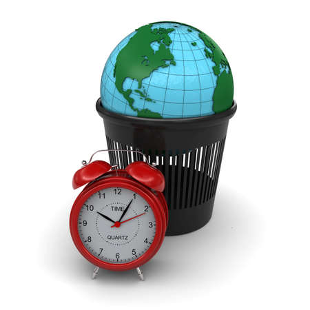 Green Earth in the trash  Red alarm clock  3d rendering photo