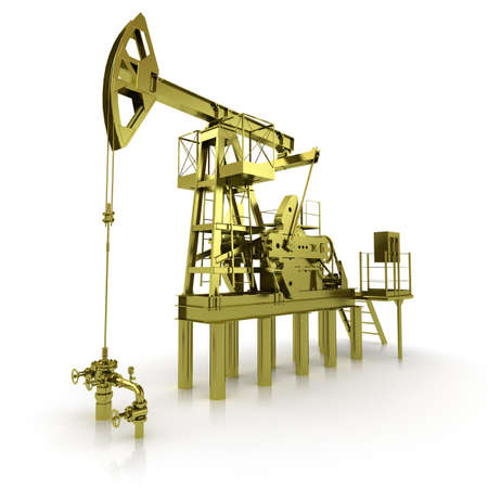 Golden Machine Oil Pump Stock Photo - 13079265