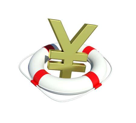 Yen sign in lifebuoy  Isolated on white background Stock Photo - 13079256