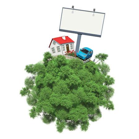 Coche, casa y comida de publicidad en un pequeño planeta con árboles