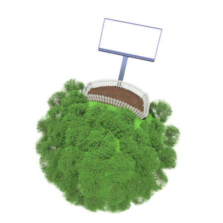 plot: Plot of land fenced on a small green planet  Advertising stand next to the fence