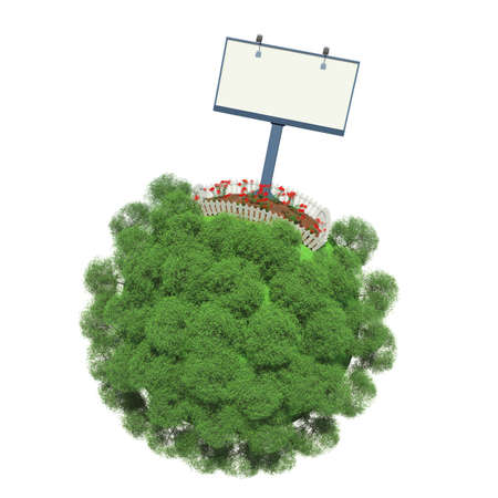 fenced: Plot of land with flowers, fenced on a small green planet  Advertising stand next to the fence