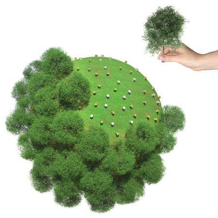 Ontbossing op de kleine groene planeet Menselijke hand houdt gesneden boom Stockfoto