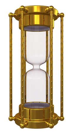 gold rush: Gold hourglass with no sand  Isolated on white background Stock Photo