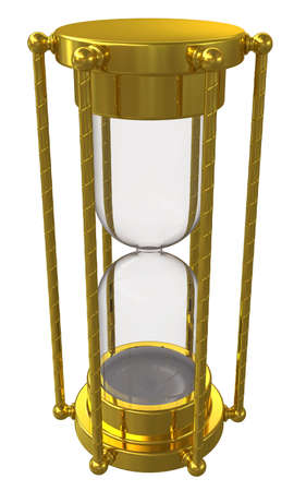 Gold hourglass  Isolated on white background photo