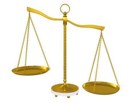 counterbalance: Gold beam balance  Isolated on white background Stock Photo