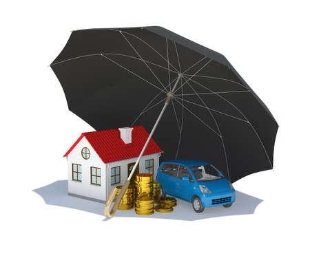 Paraguas negro cubre casa, coche y dinero aislados en fondo blanco Foto de archivo