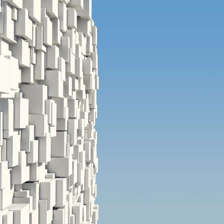 Wall of white cubes against the blue sky photo