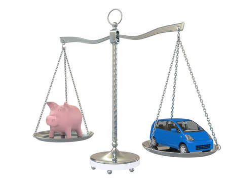 Piggy Bank and car on the scales  Isolated on white background photo