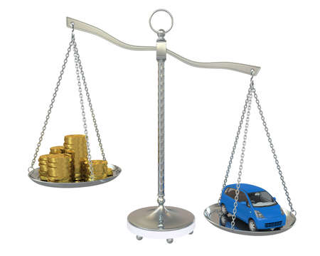 comparison: Money and the car in the gold balance scales  Isolated on white background