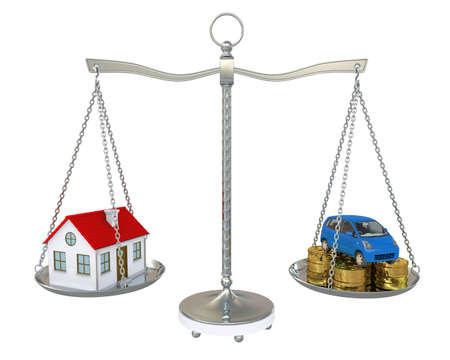 House and car with the coins on the scale  Isolated on white background Stock Photo - 14244736