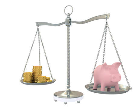 balance beam: Piggy and gold coins on the scale  Isolated on white background