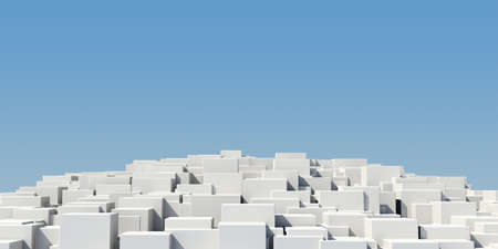 Pedestal of white cubes on a blue background photo