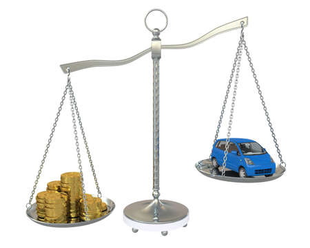 Money and the car in the gold balance scales  Isolated on white background photo