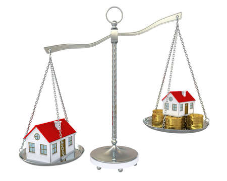 sold small: Large and small home with gold coins on the scale  Isolated on white background