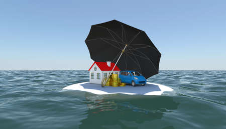 weather protection: House, car and money covered with an umbrella on a white island in the water  3d rendering Stock Photo