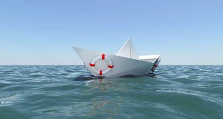 aro salvavidas: Barco de papel blanco flotando en el agua de mar El fondo del cielo azul
