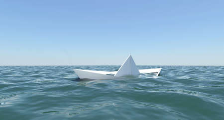 vessel sink: White paper boat is sinking in the sea water  The blue sky background