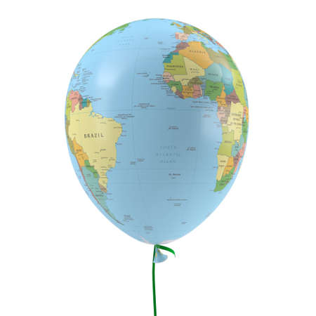 Balloon with the texture of the planet earth  Isolated on white background photo