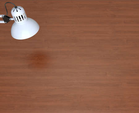 White lamp and wooden work table  3d rendering photo