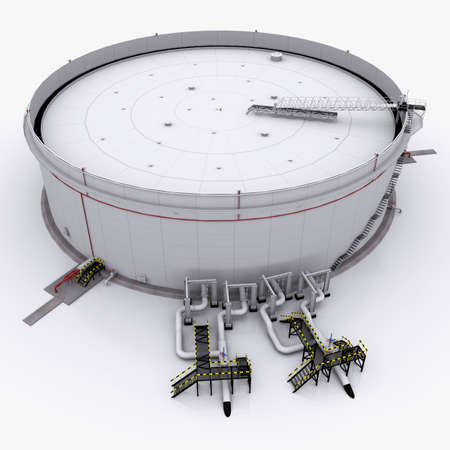 Large oil tank with floating roof  isolated on white background Stock Photo - 14508612