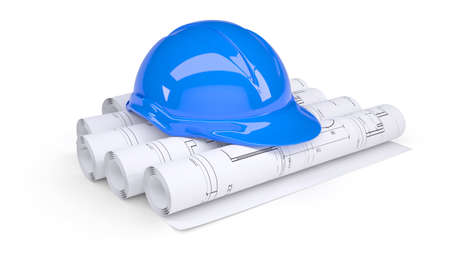 Blue construction helmet on the rolls of architectural drawings  Isolated on white background photo