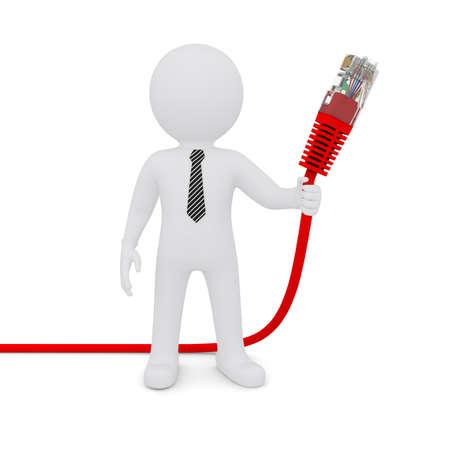 red informatica: El hombre blanco que sostiene un cable de red rojo aislado en fondo blanco