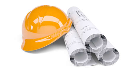 Rolls of architectural drawings and orange construction helmet  Isolated on white background photo