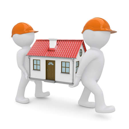 housing problems: Two workers in orange hard hats have a house with red roof  Isolated on white background Stock Photo