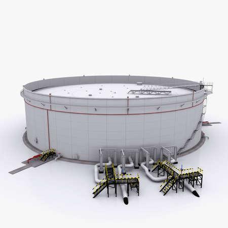 tanque de combustible: Dep�sito de aceite grande con techo flotante Aislado sobre fondo blanco